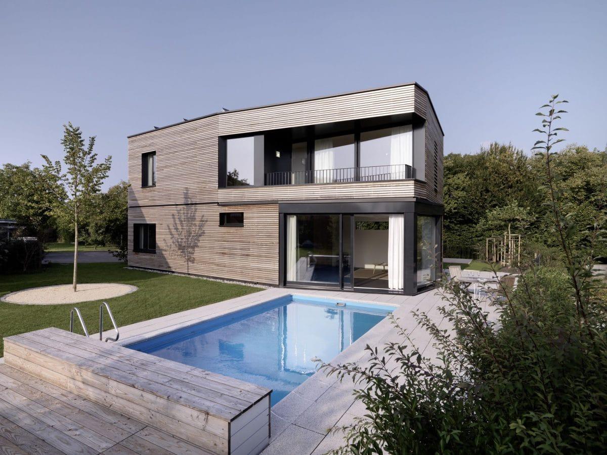 Außenansicht mit Pool Haus S Dietilkon - Foto von Bruno Helbling, Zürich